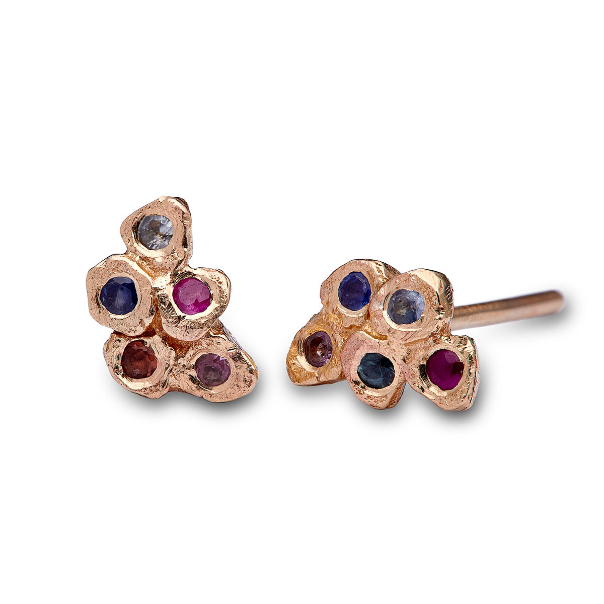 Mosaic stud earrings, 9ct yellow gold, sapphires