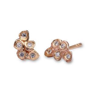Mosaic stud earrings, 9ct yellow gold, Diamond